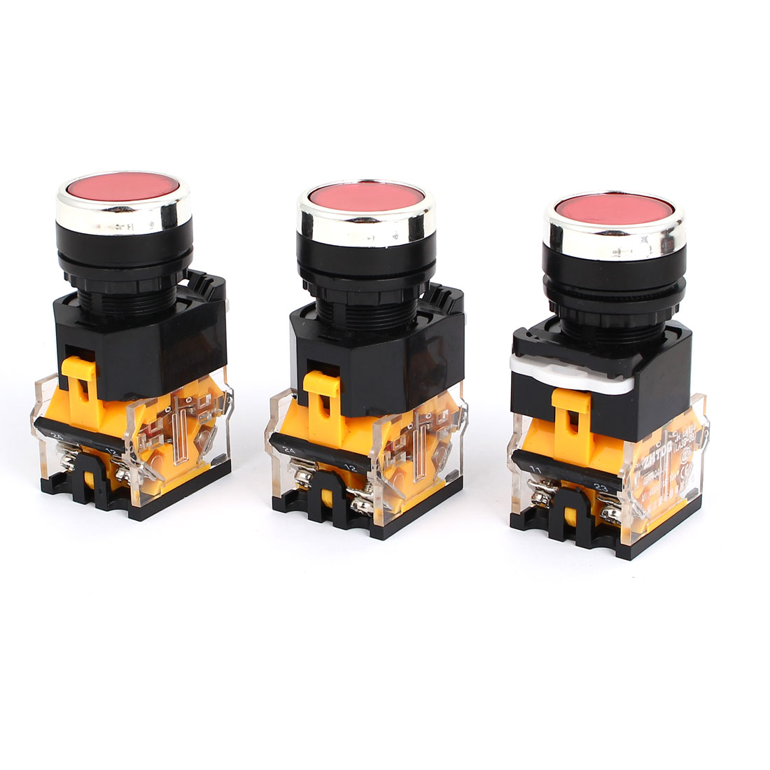 3pcs AC 220V Red Light LED Indicator Panel Mounted Self Locking Push Button Switch 660V 10A