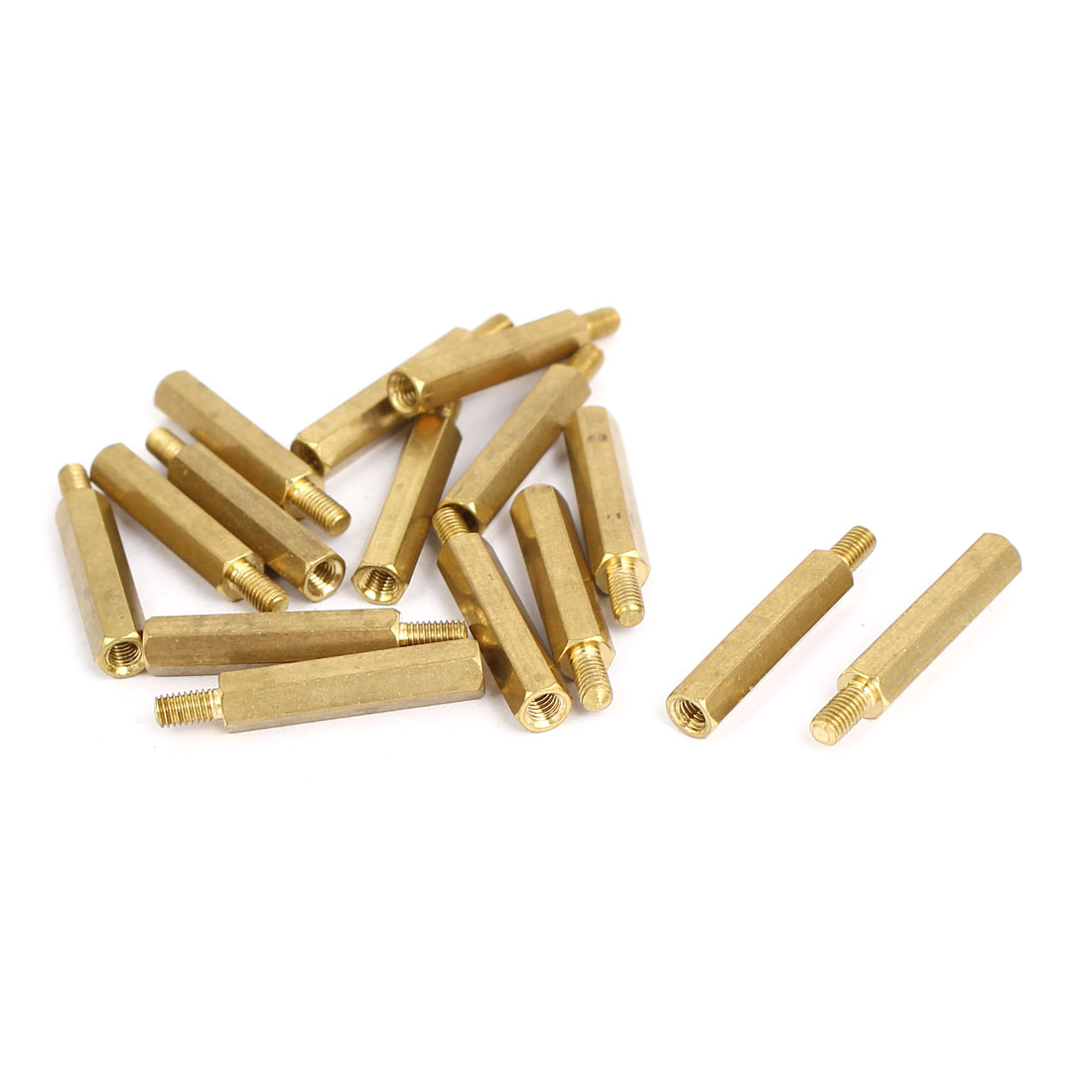 M3x22+6mm Male/Female Threaded Brass Hex Tapped Hexagonal Spacer Standoff Pillar 15pcs