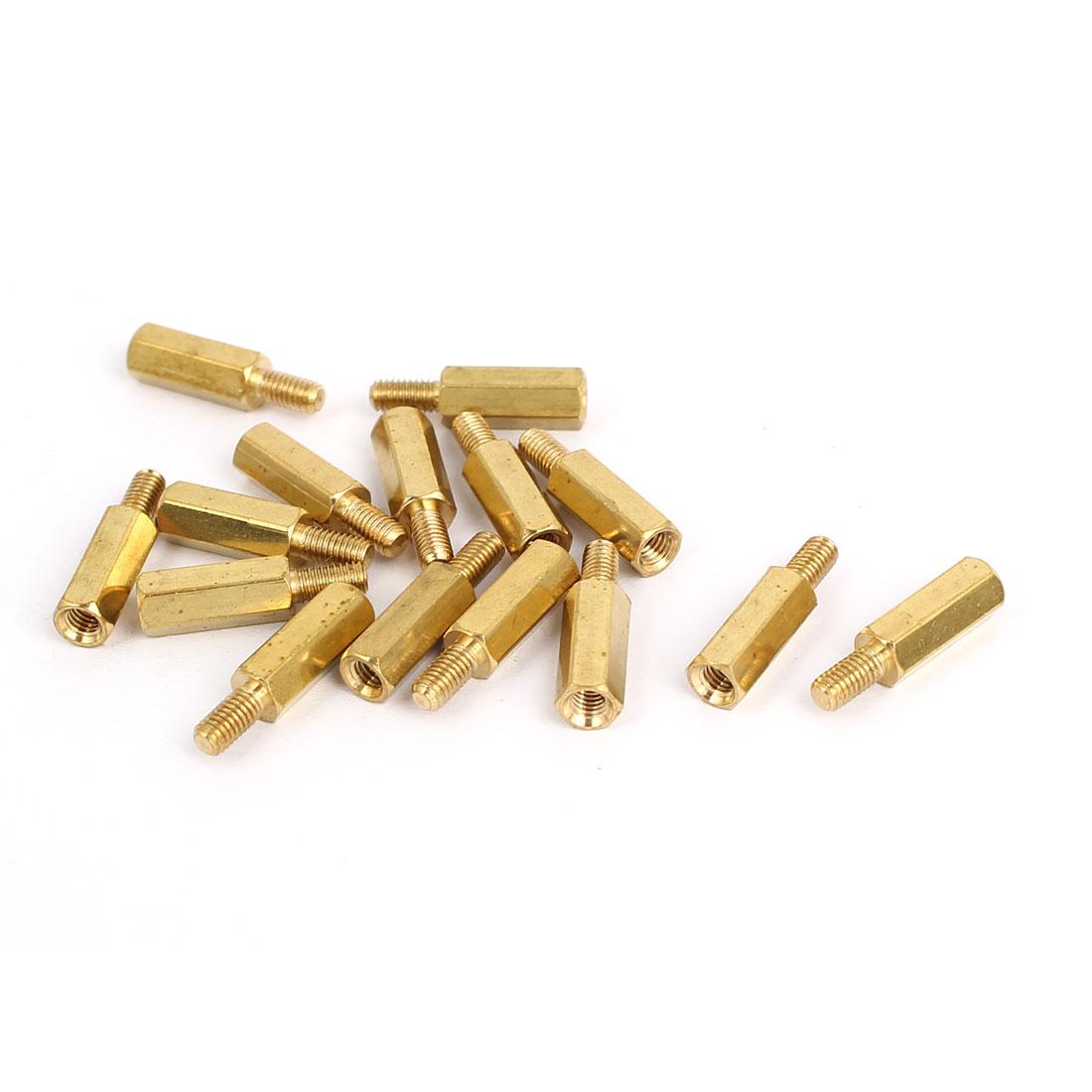 M3x12mm+6mm Brass Threaded Hex Hexagonal Male/Female Standoff Spacer Pillar 15pcs