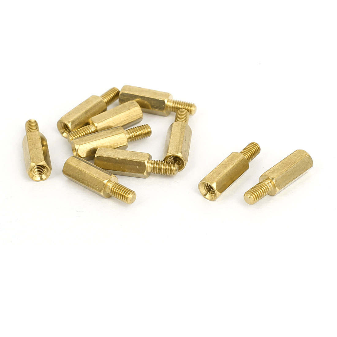 M3x11+6mm Male/Female Threaded Brass Hex Tapped Hexagonal Spacer Standoff Pillar 10pcs