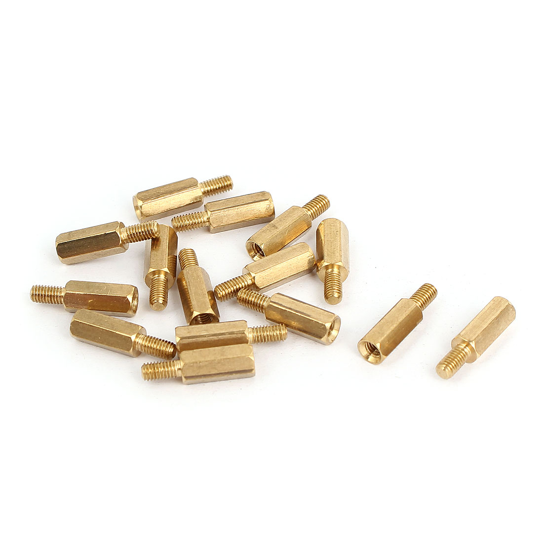 M3x11+6mm Male/Female Threaded Brass Hex Tapped Hexagonal Spacer Standoff Pillar 15pcs