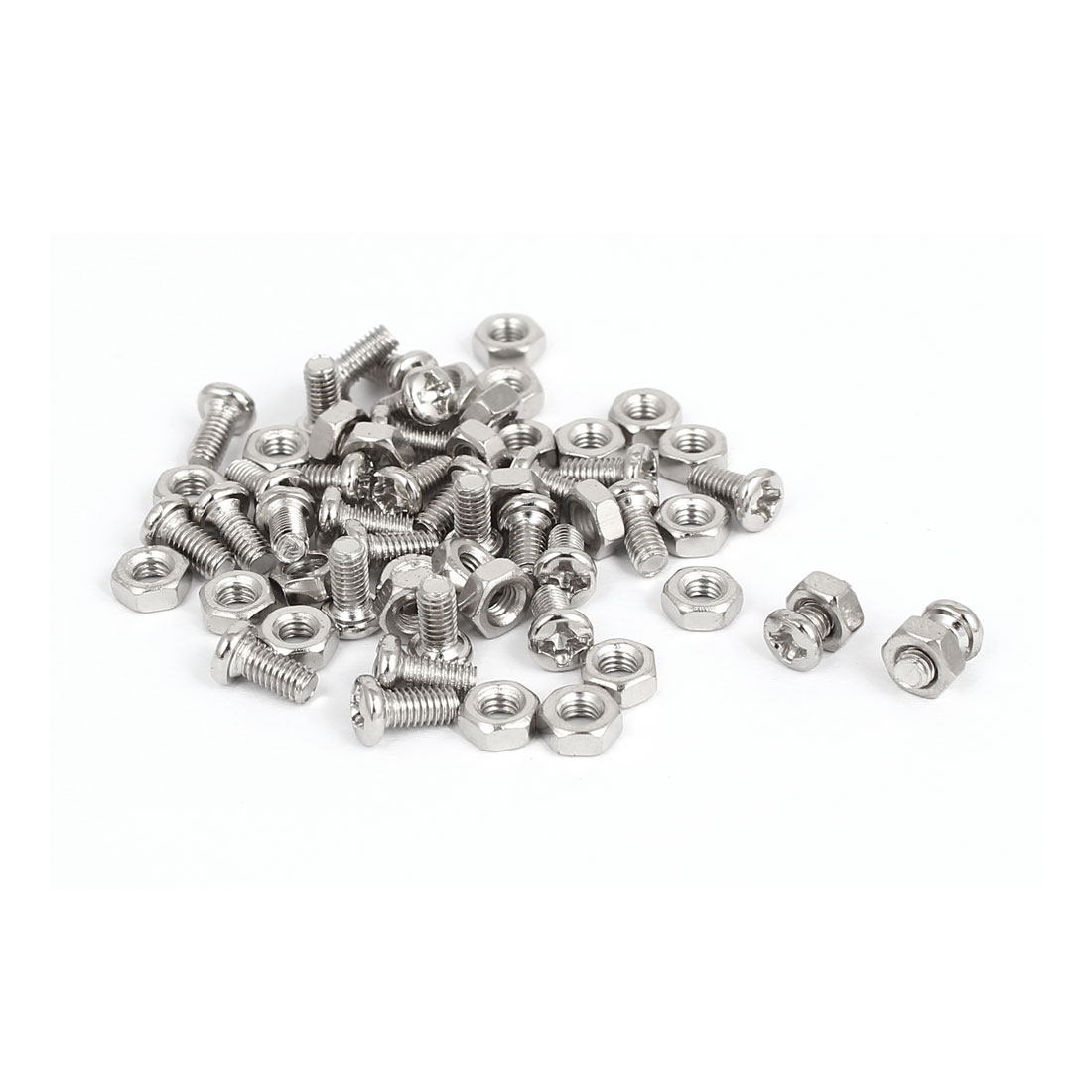 M3 x 6mm Metal Hex Nuts Phillips Round Head Machine Screw Bolt Silver Tone 30pcs