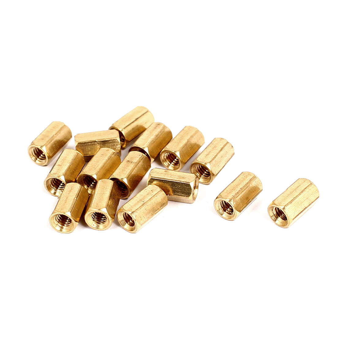 M4x10mm Brass Hex Hexagonal Female Threaded Standoff Spacer Pillars 15pcs