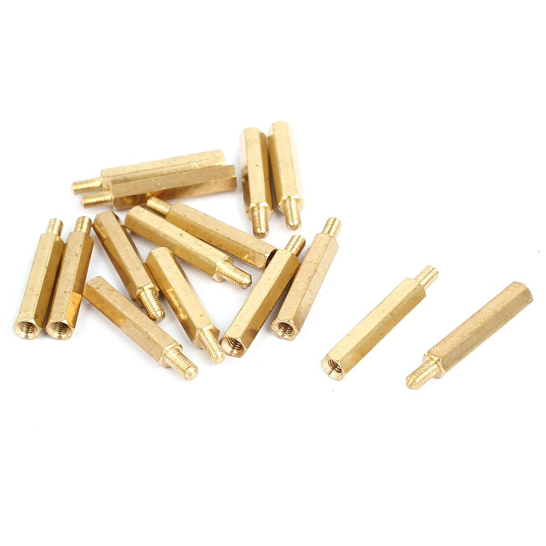 M3x23+6mm Male/Female Threaded Brass Hex Tapped Hexagonal Spacer Standoff Pillar 15pcs