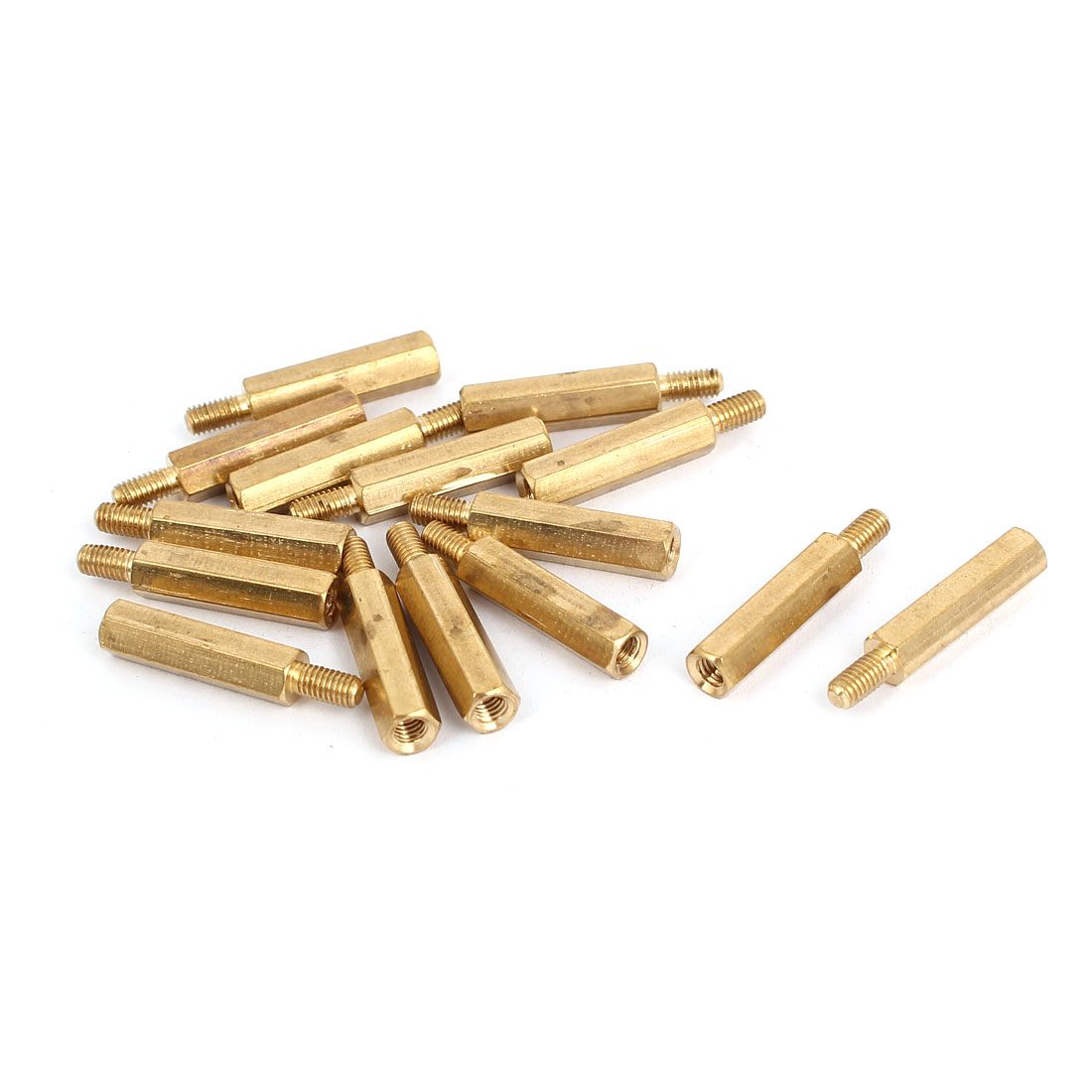 M3 Male to Female Thread Insulated Brass Standoff Hexagonal Spacer 18+6mm Long 15pcs