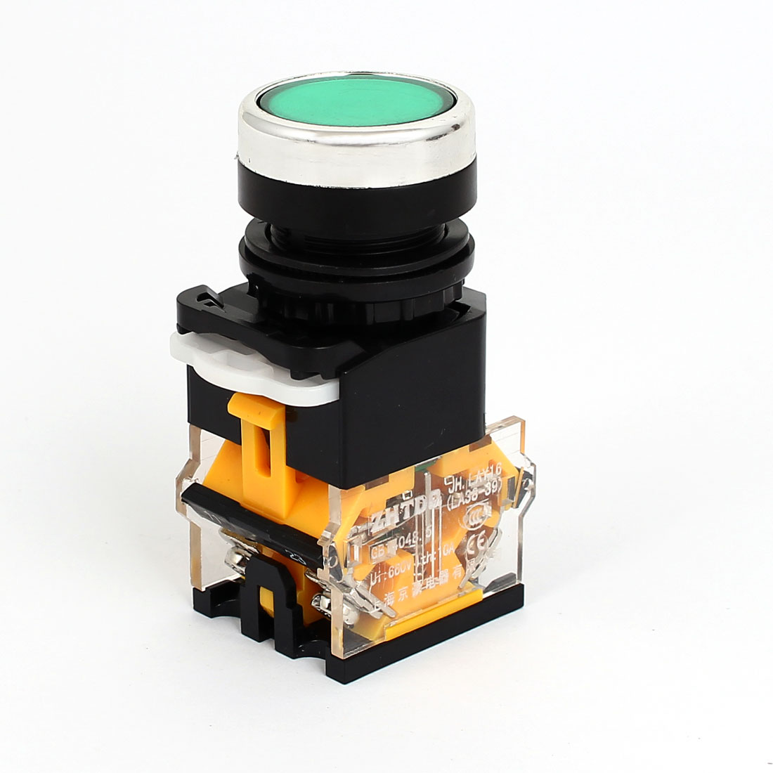 AC 220V Green Light LED Indicator Panel Mounted Self Locking Push Button Switch 660V 10A