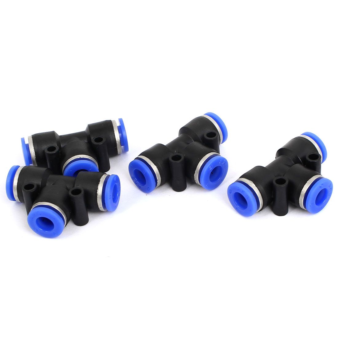 4pcs 6mm to 6mm T Shaped 3 Way Air Pneumatic Quick Fitting Coupler Black Blue