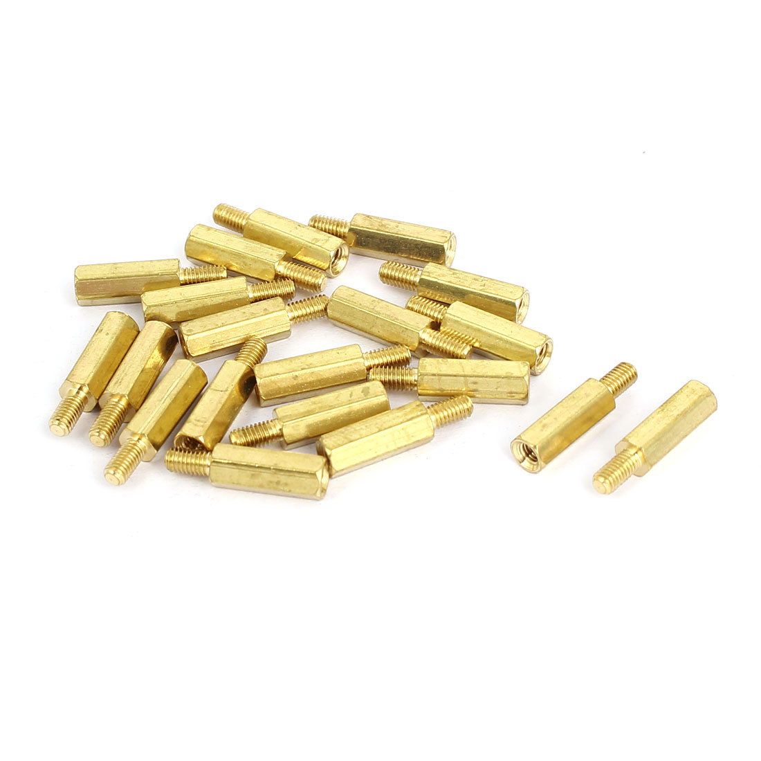 M3x13+6mm Male to Female Hexagonal Standoff Spacer Nuts Washers Brass Tone 20pcs