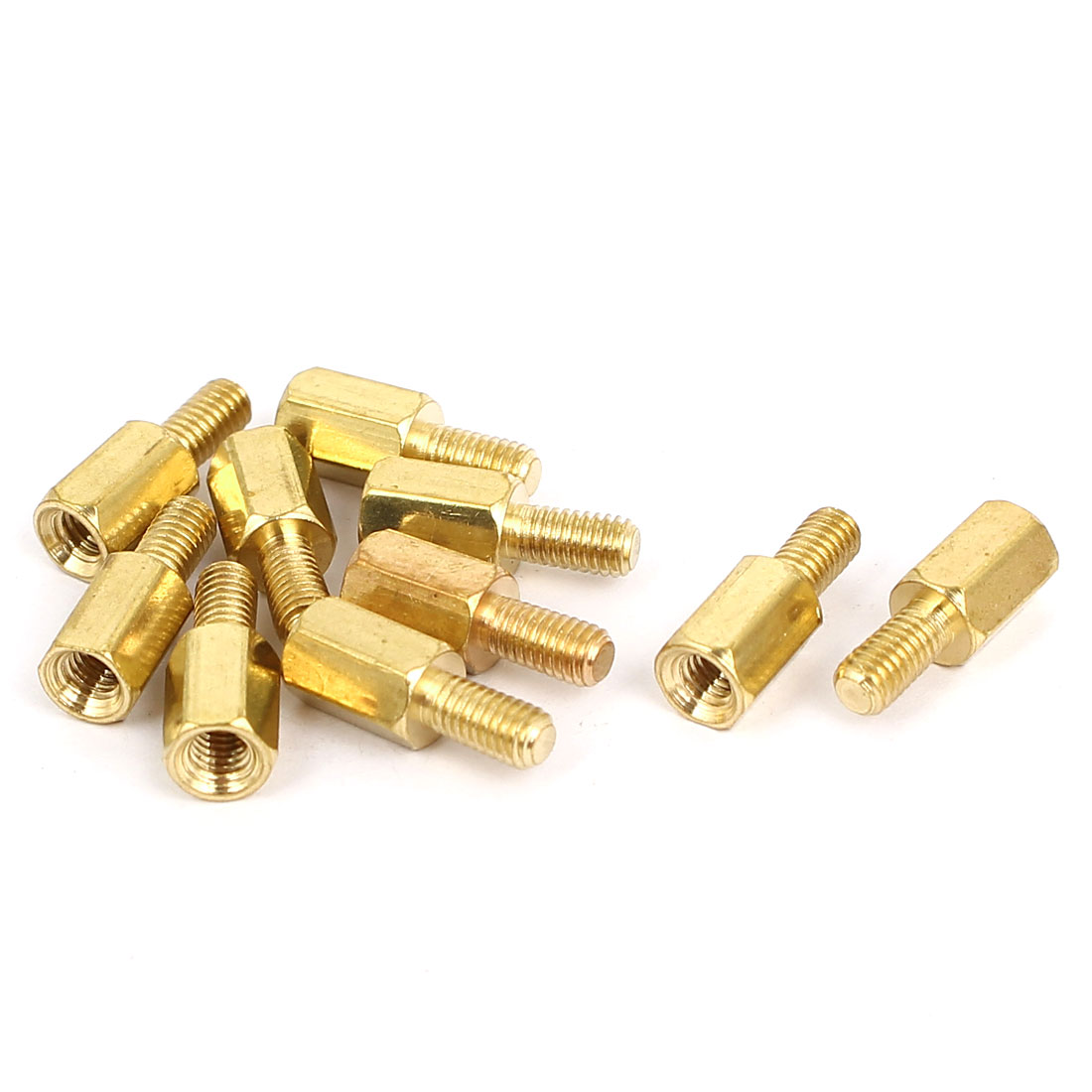 M3 Male to Female Thread Brass Hexagonal PCB Spacer Standoff Support 7mm+6mm 10pcs