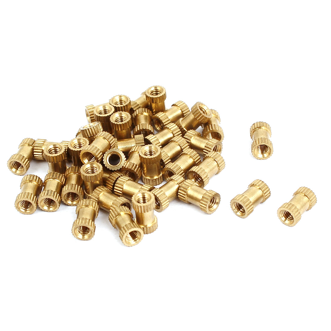 M3x8mmx5mm Female Threaded Brass Knurled Insert Embedded Nuts Gold Tone 40pcs