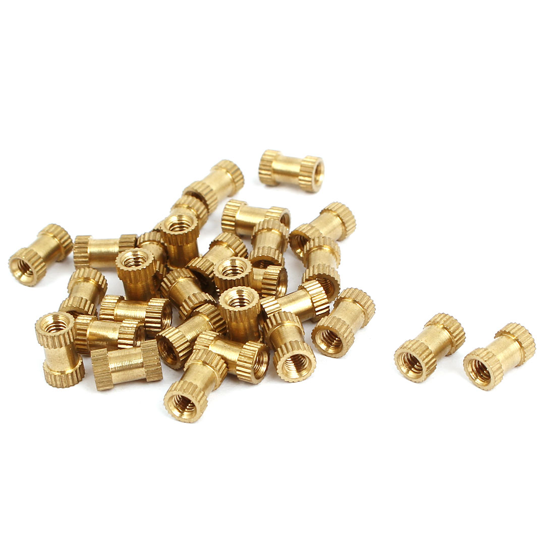 M3x8mmx5mm Female Threaded Brass Knurled Insert Embedded Nuts Gold Tone 30pcs