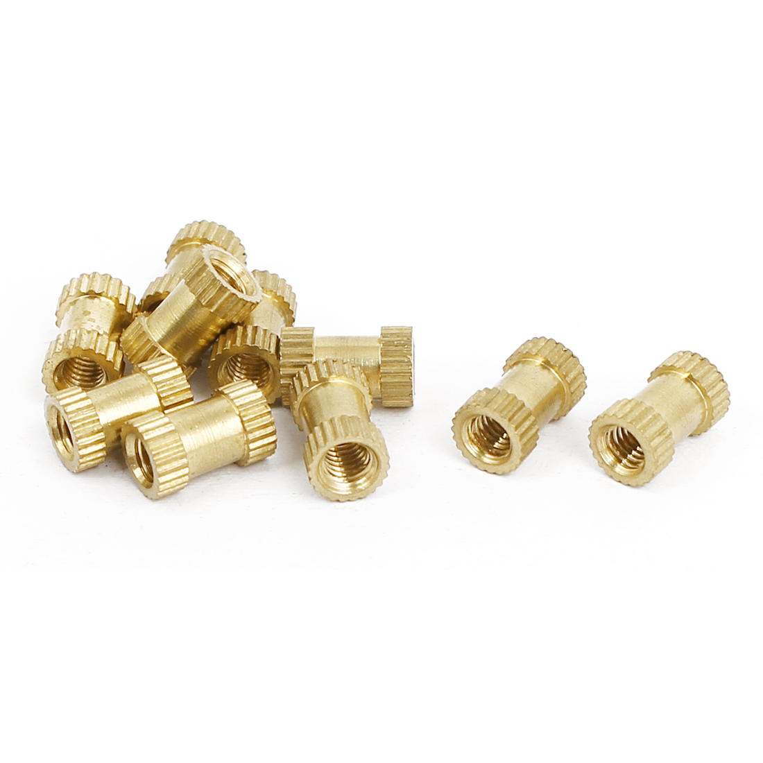 M3x8mmx5mm Female Threaded Brass Knurled Insert Embedded Nuts Gold Tone 10pcs