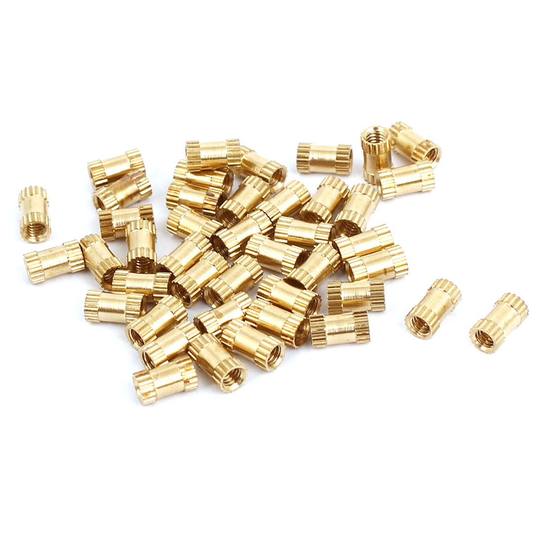 M2.5x6mmx3.5mm Female Threaded Brass Knurled Insert Embedded Nuts Gold Tone 40pcs