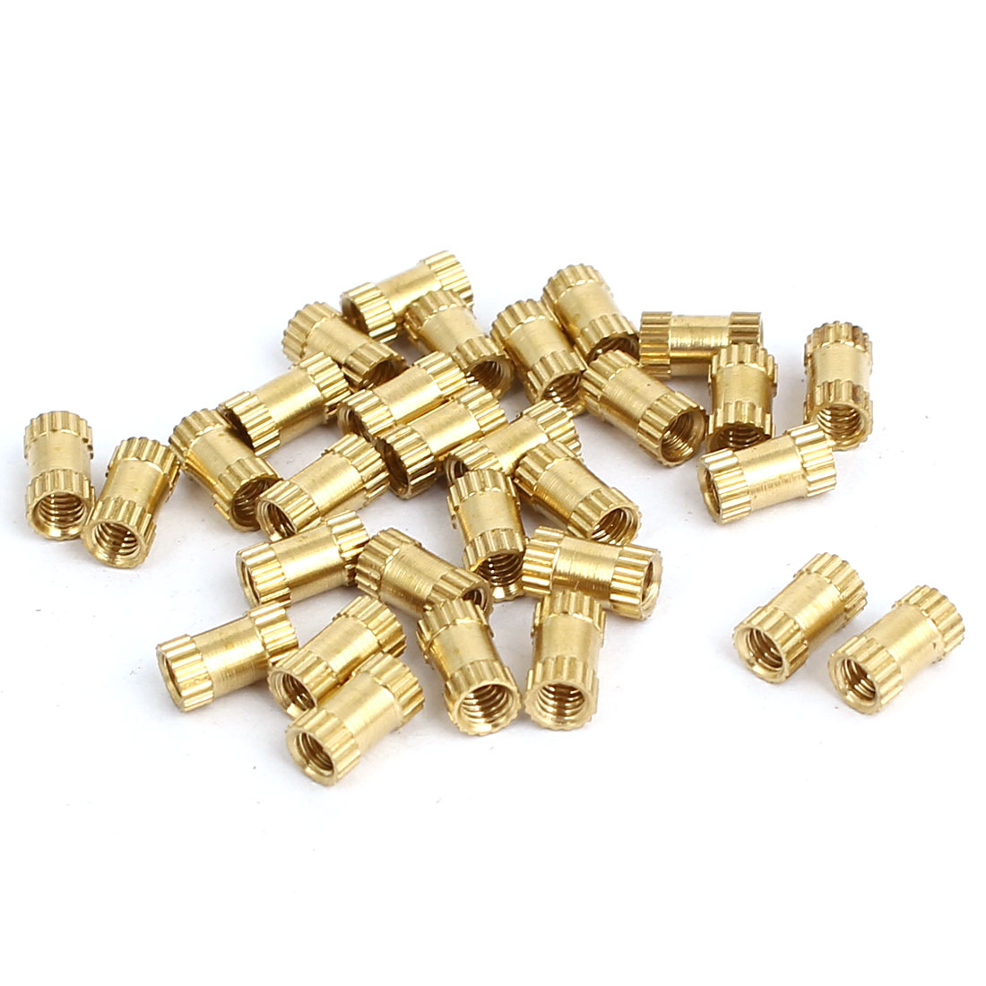 M2.5x6mmx3.5mm Female Threaded Brass Knurled Insert Embedded Nuts Gold Tone 30pcs