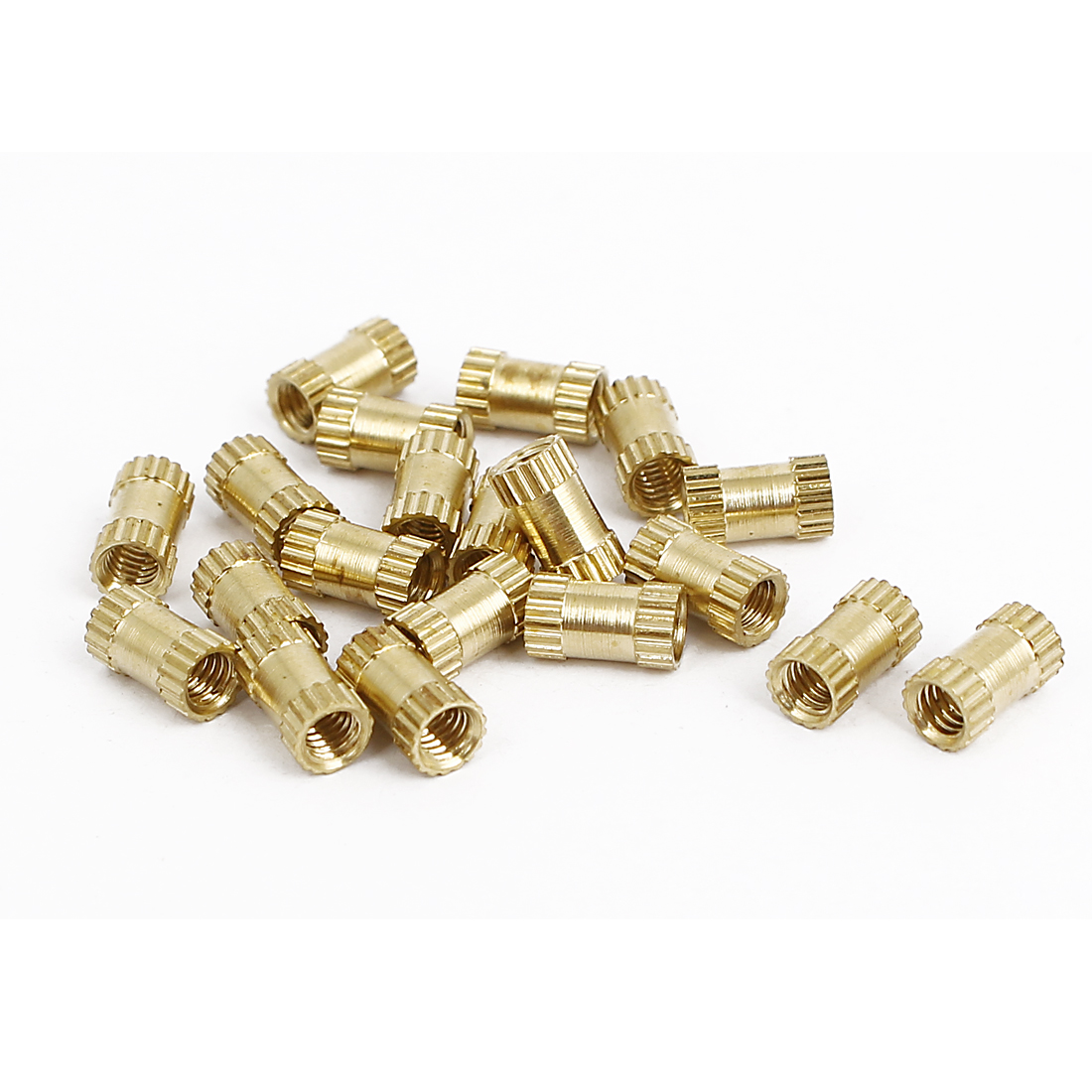 M2.5x6mmx3.5mm Female Threaded Brass Knurled Insert Embedded Nuts Gold Tone 20pcs