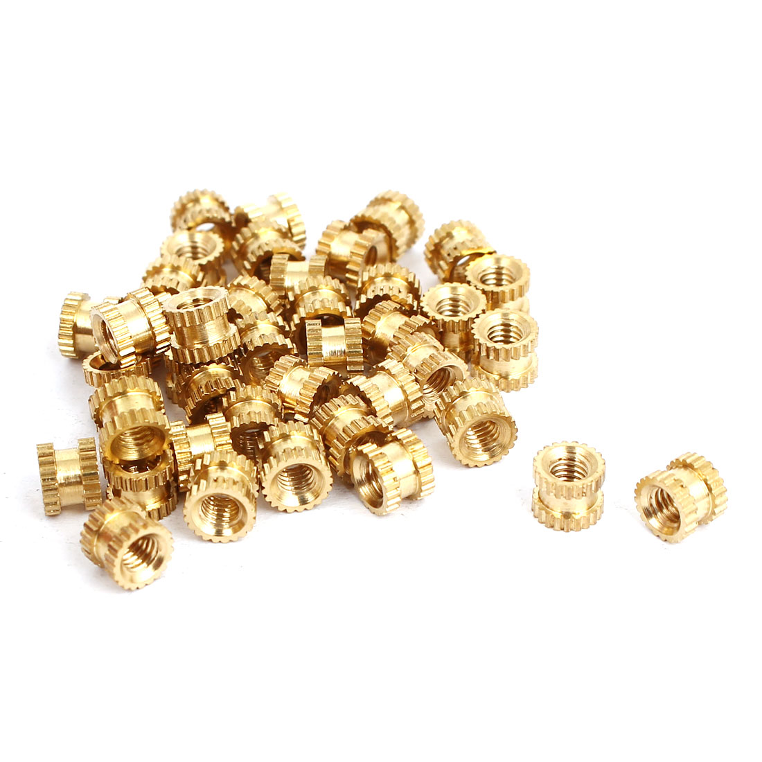 M3x4mmx5mm Female Threaded Brass Knurled Insert Embedded Nuts Gold Tone 40pcs