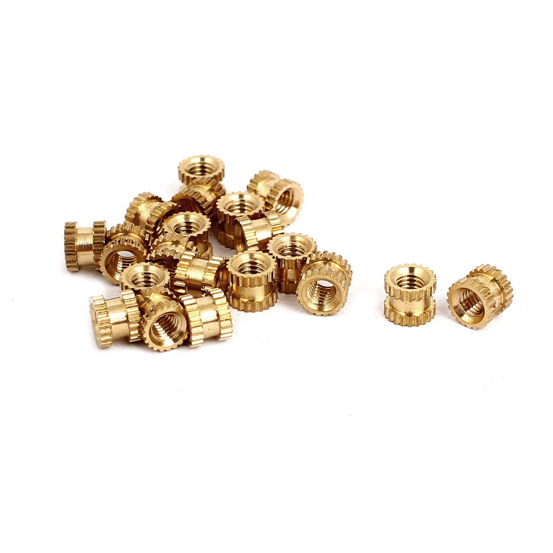 M3x4mmx5mm Female Threaded Brass Knurled Insert Embedded Nuts Gold Tone 20pcs