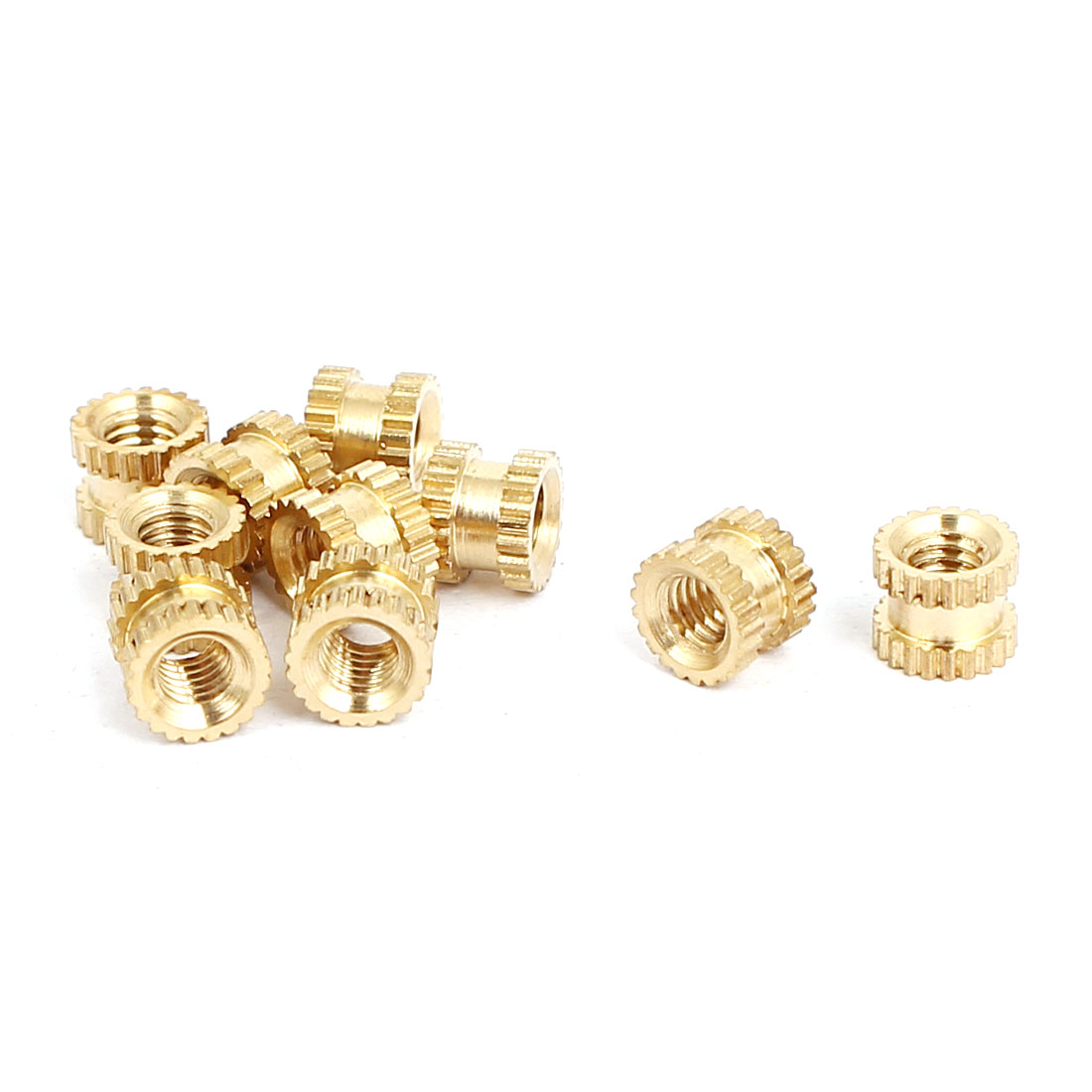 M3x4mmx5mm Female Threaded Brass Knurled Insert Embedded Nuts Gold Tone 10pcs