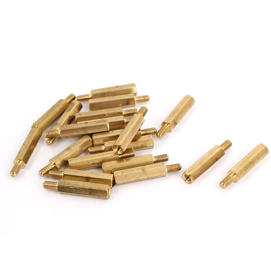 M3 Male to Female Thread Insulated Brass Standoff Hexagonal Spacer 18+6mm Long 20pcs