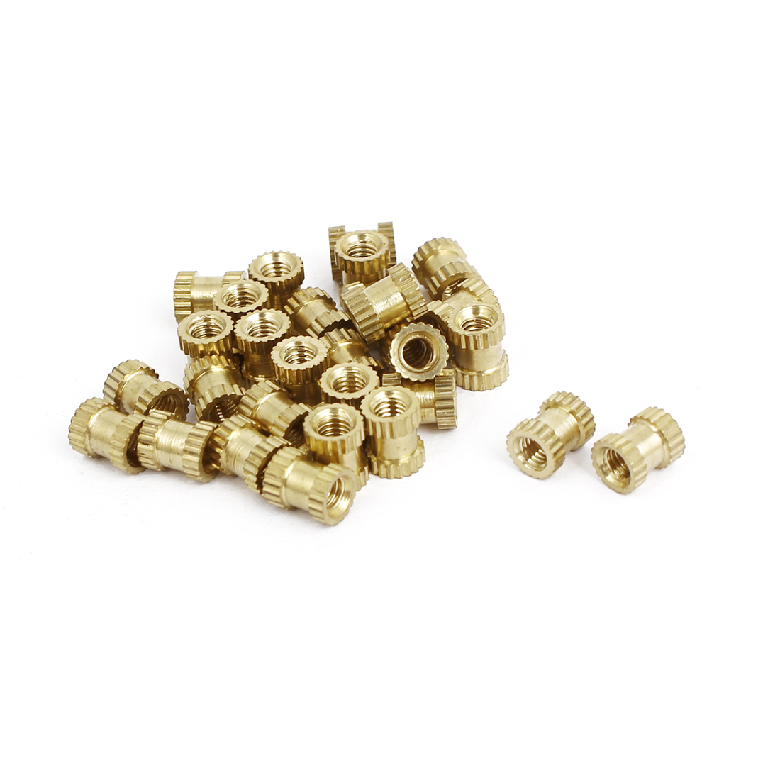 M3x6mmx5mm Female Threaded Brass Knurled Insert Embedded Nuts Gold Tone 30pcs