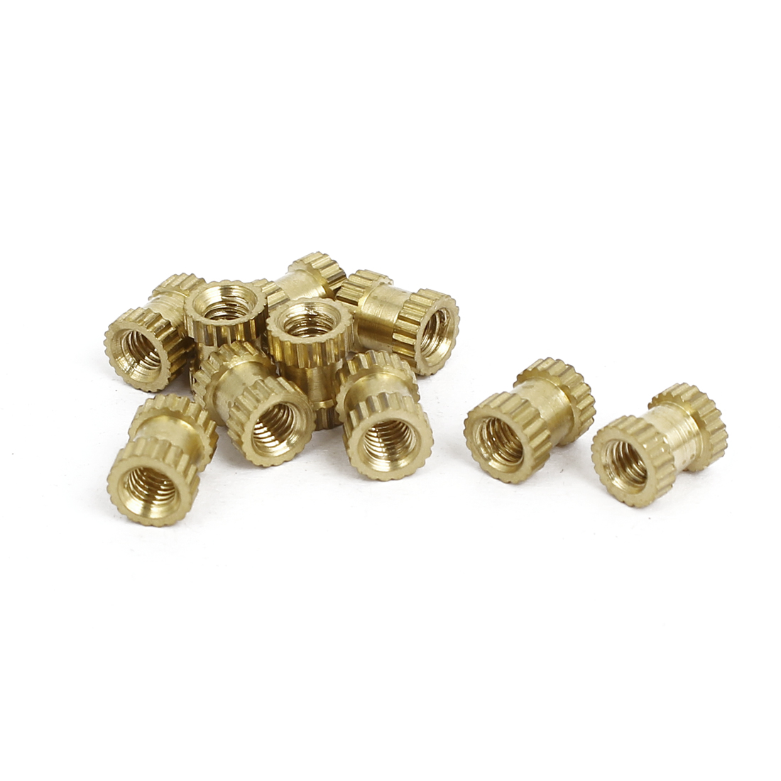 M3x6mmx5mm Female Threaded Brass Knurled Insert Embedded Nuts Gold Tone 10pcs