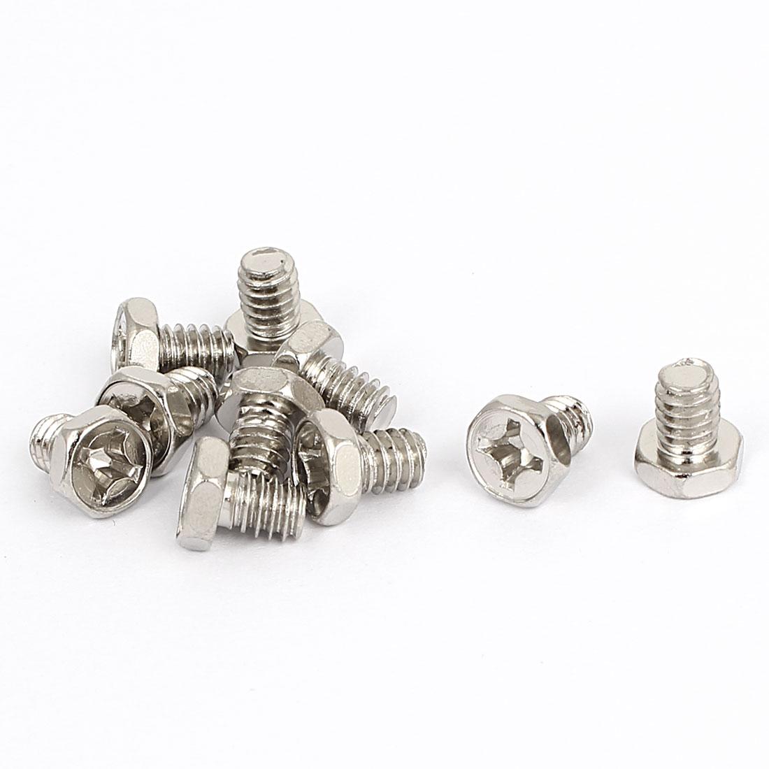 M6 x 1.25mm x 8mm Hex Bolts Tap Phillips Head Screws Fastener Silver Tone 10pcs