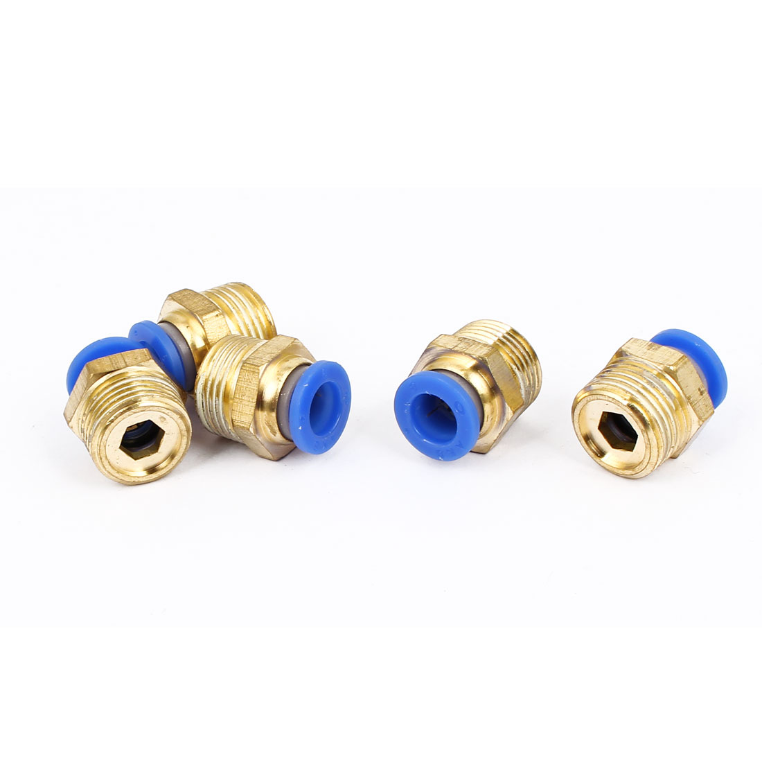 Tube OD 8mm x 3/8BSP Push In Quick Release Air Fitting Connector 5pcs