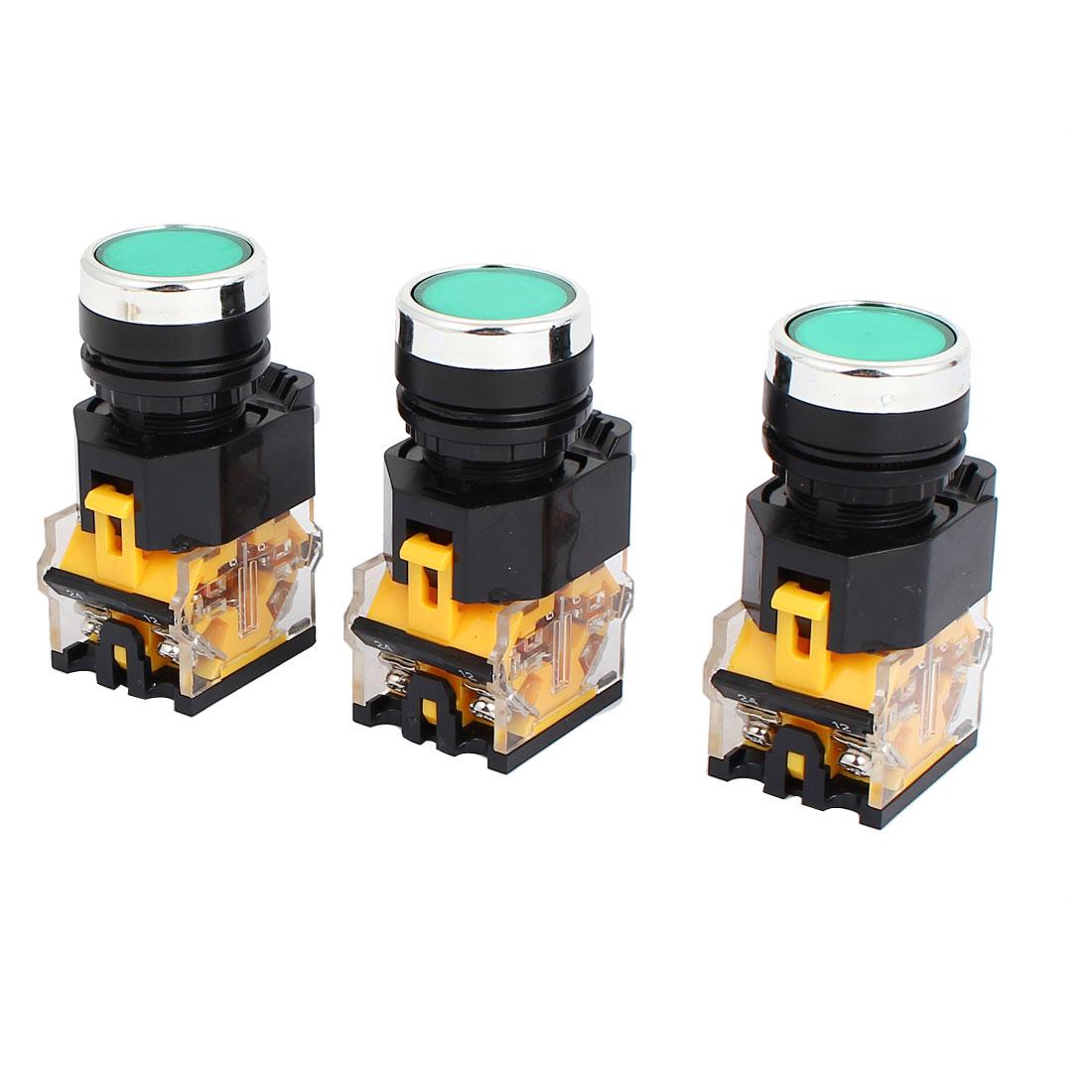 3pcs AC 220V Green Light LED Indicator Panel Mounted Self Locking Push Button Switch 660V 10A