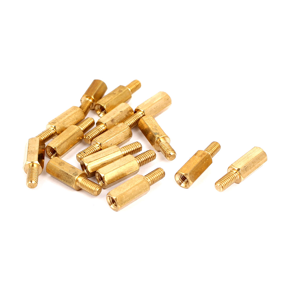 M3 Male to Female Thread Insulated Brass Standoff Hexagonal Spacer 10+6mm Long 15pcs