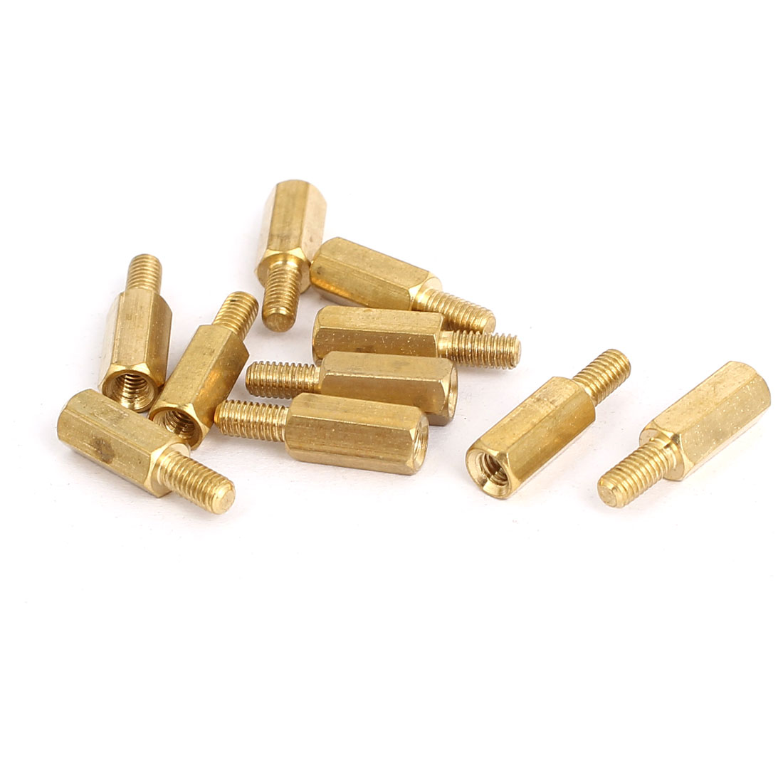 M3 Male to Female Thread Insulated Brass Standoff Hexagonal Spacer 10+6mm Long 10pcs