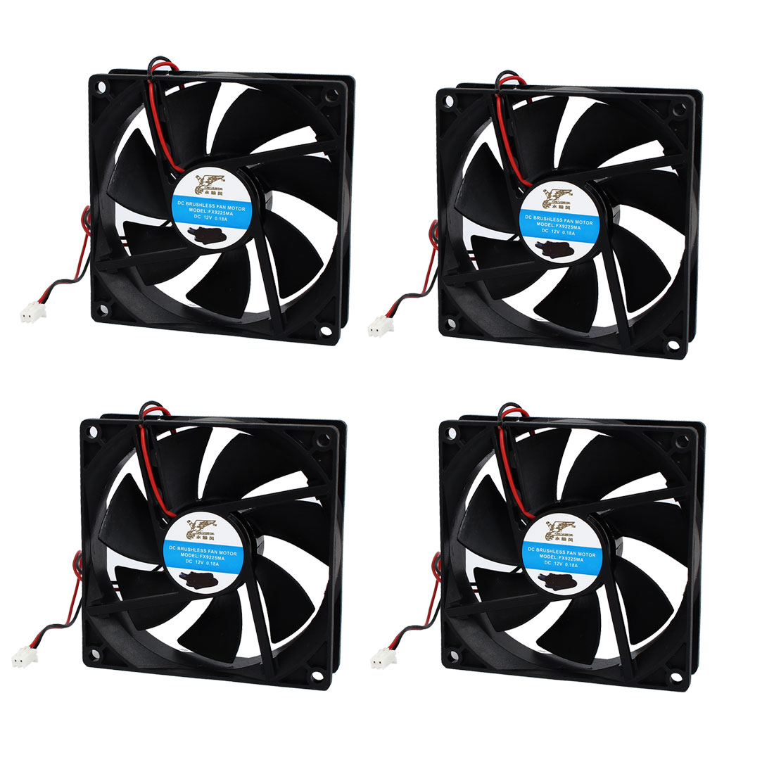9cm x 9cm x 2.5cm Sleeve Bearing CPU Cooler Cooling Fan DC 12V 0.18A 4pcs