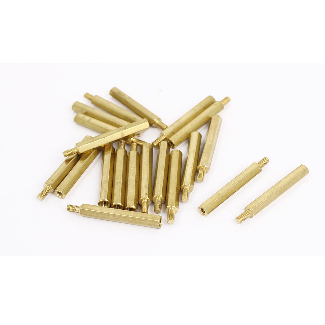 M3 Female x Male Brass Hexagonal Pillar Standoff Spacer Screws Bolt 32+6mm 20pcs