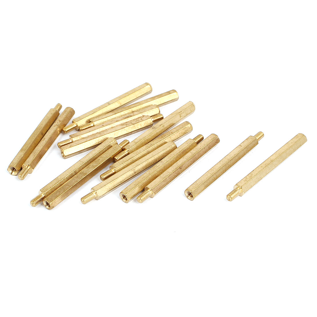 M3 Male to Female Thread Insulated Brass Standoff Hexagonal Spacer 40+6mm Long 15pcs