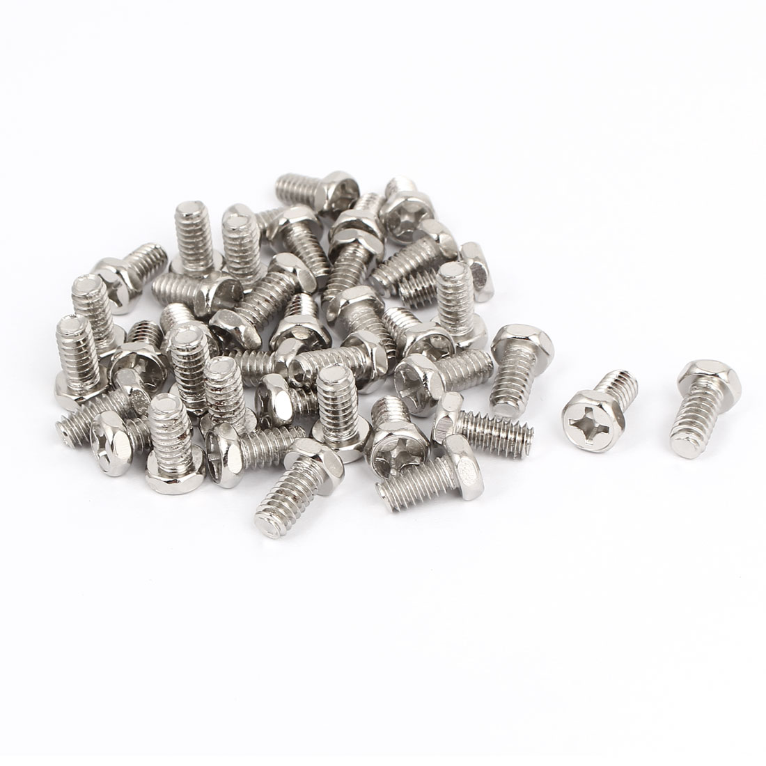 M6 x 12mm Hex Bolts Tap Phillips Head Screws Fastener Silver Tone 40pcs