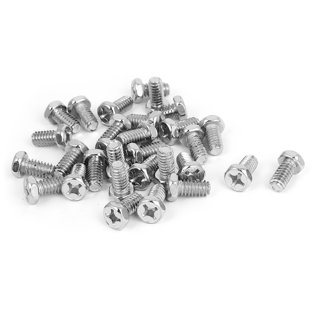 M6 x 12mm Hex Bolts Tap Phillips Head Screws Fastener Silver Tone 30pcs