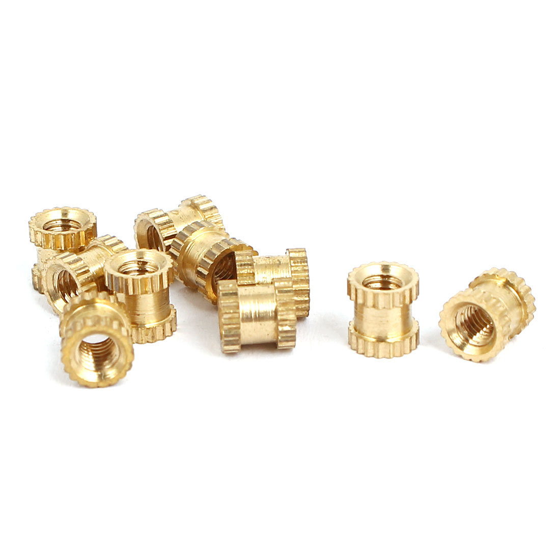 M3x5mmx5mm Female Threaded Brass Knurled Insert Embedded Nuts Gold Tone 10pcs