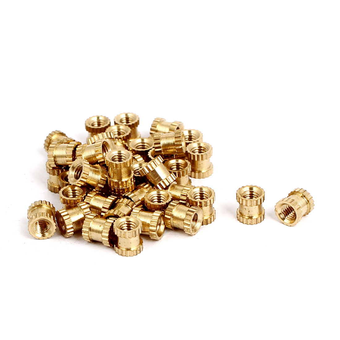 M3x5mmx5mm Female Threaded Brass Knurled Insert Embedded Nuts Gold Tone 40pcs