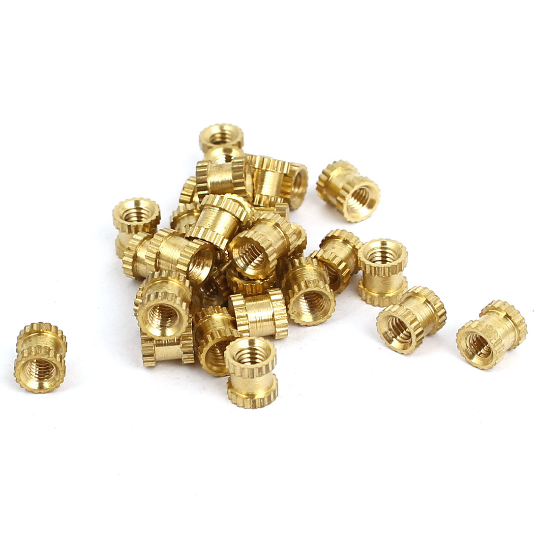 M3x5mmx5mm Female Threaded Brass Knurled Insert Embedded Nuts Gold Tone 30pcs