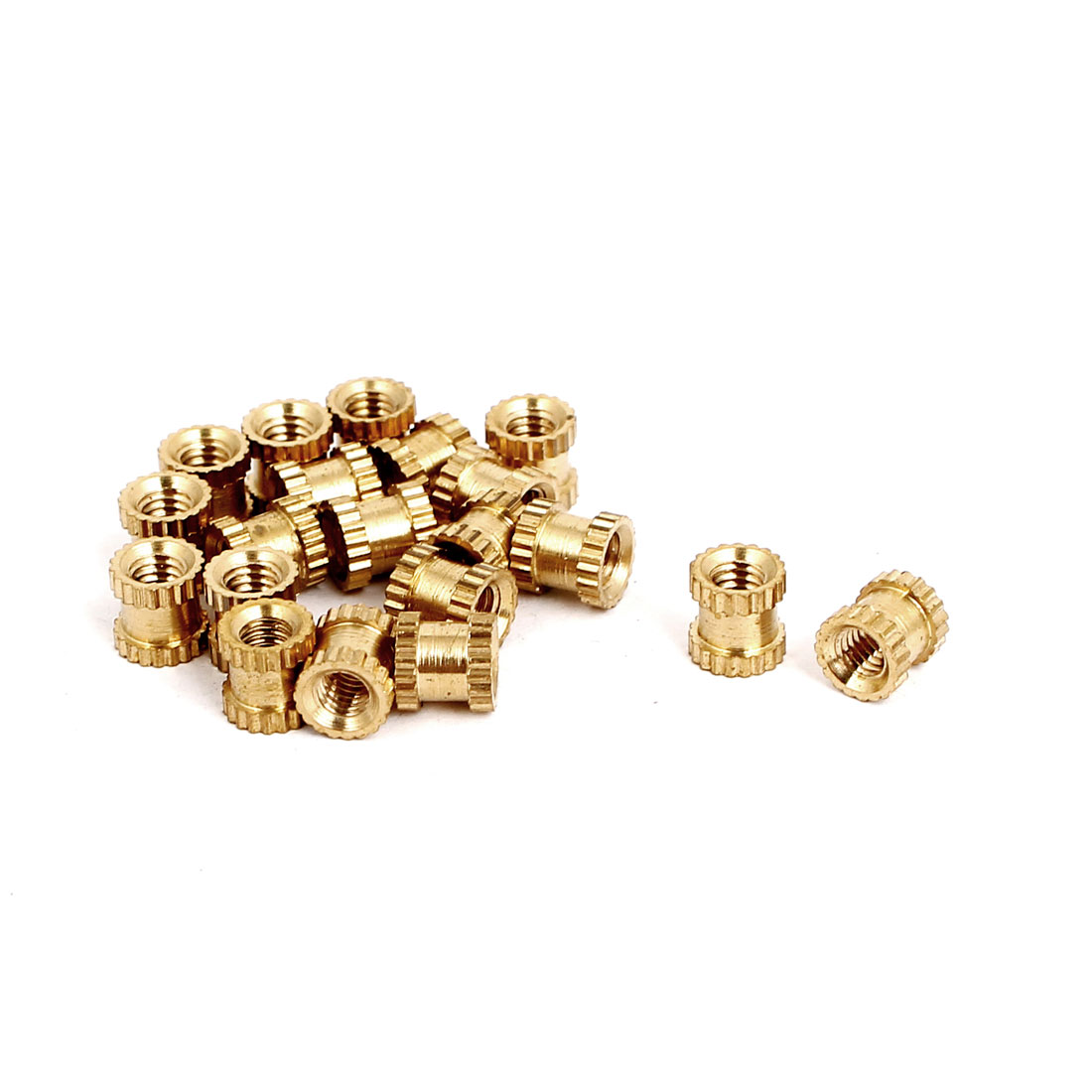M3x5mmx5mm Female Threaded Brass Knurled Insert Embedded Nuts Gold Tone 20pcs