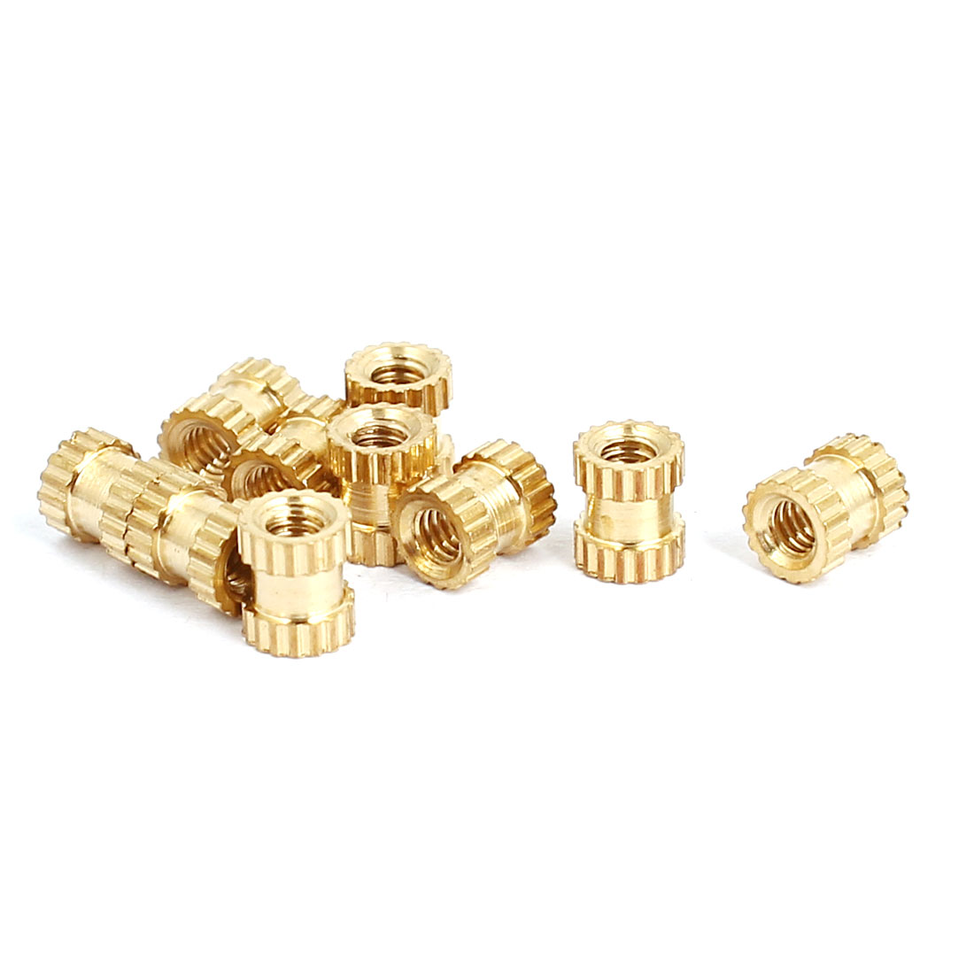 M2x4mmx3.5mm Brass Knurled Threaded Nut Insert Embedded Nuts Gold Tone 10pcs