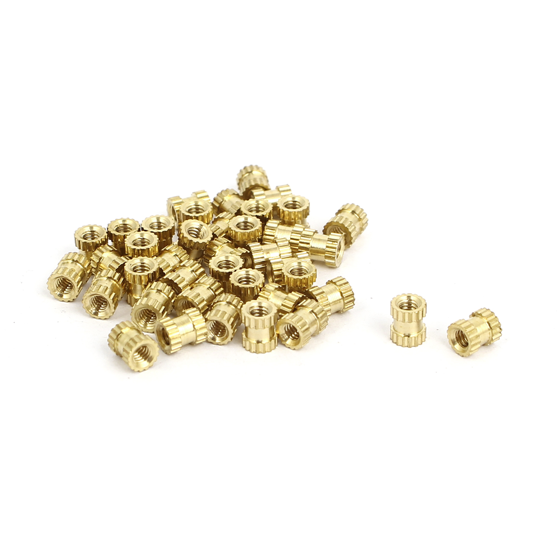 M2x4mmx3.5mm Brass Knurled Threaded Nut Insert Embedded Nuts Gold Tone 40pcs