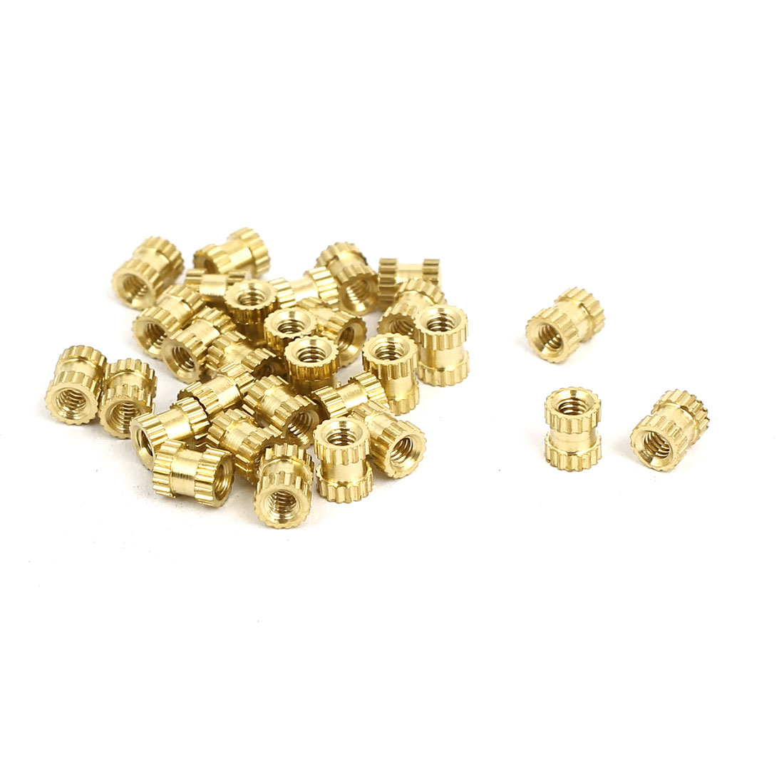M2x4mmx3.5mm Brass Knurled Threaded Nut Insert Embedded Nuts Gold Tone 30pcs
