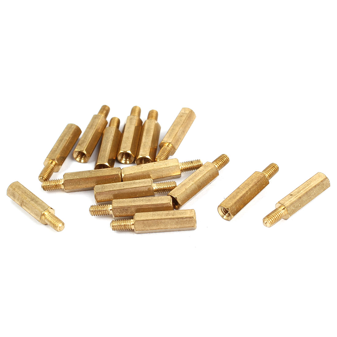 M3 Female x Male Brass Hexagonal Pillar Standoff Spacer Screws Bolt 15+6mm 15pcs