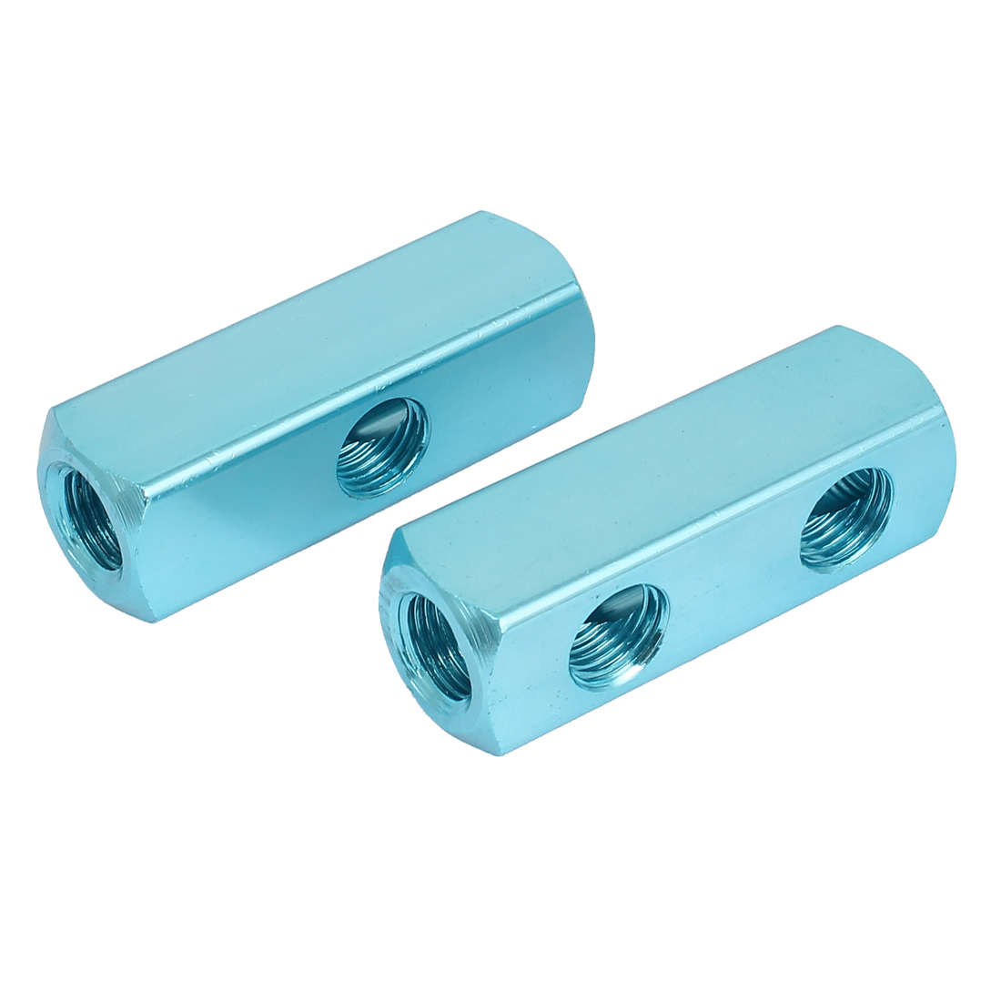1/4BSP Thread 2 Ways Quick Connect Air Hose Inline Manifold Splitter Block Blue 2pcs