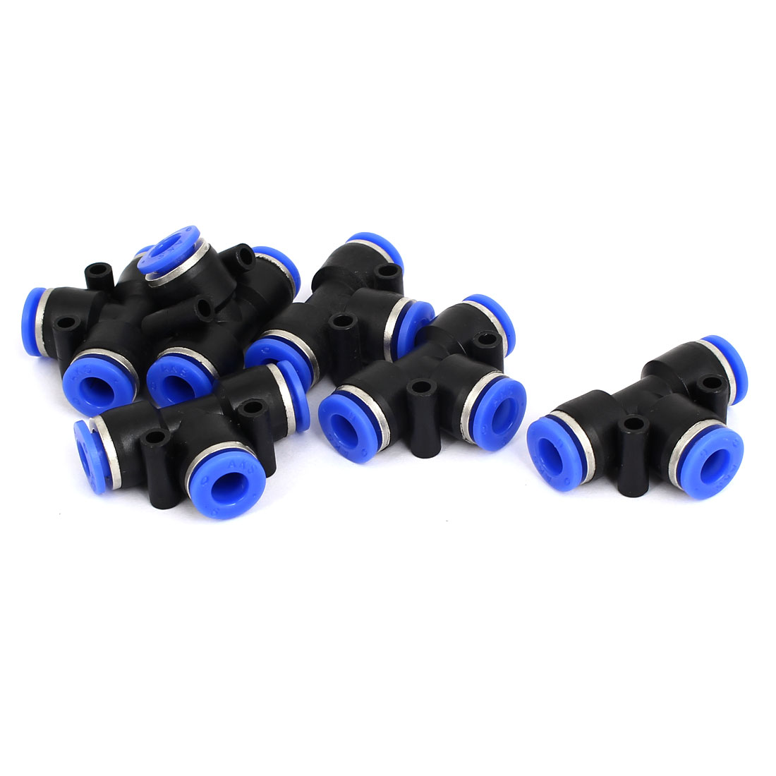6pcs 6mm to 6mm T Shaped 3 Way Air Pneumatic Quick Fitting Coupler Black Blue
