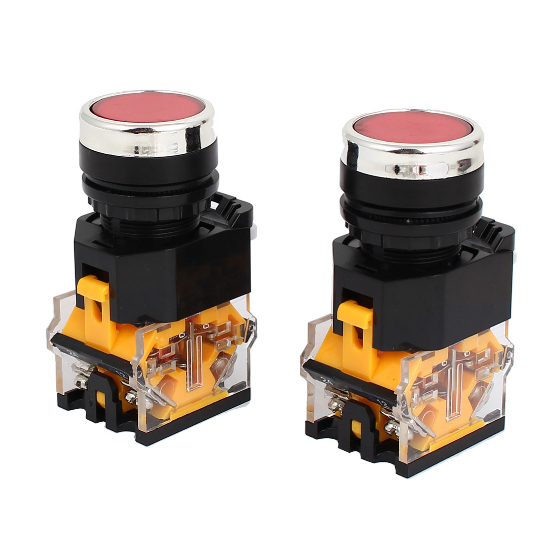 2pcs AC 220V Red Light LED Indicator Panel Mounted Self Locking Push Button Switch 660V 10A