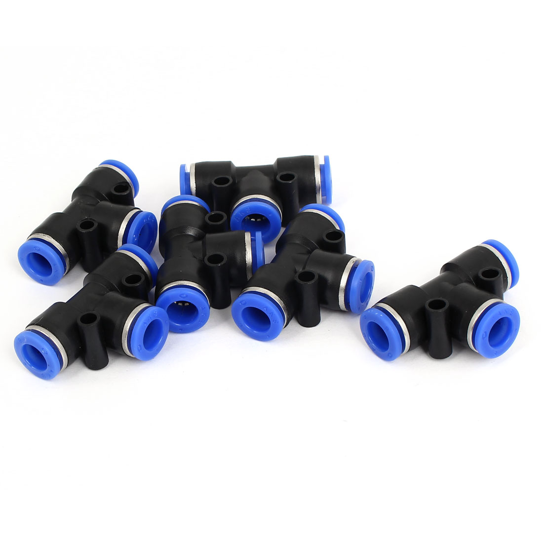 6pcs 8mm to 8mm Connector Air Pneumatic T Style Quick Joint Fittings Black Blue