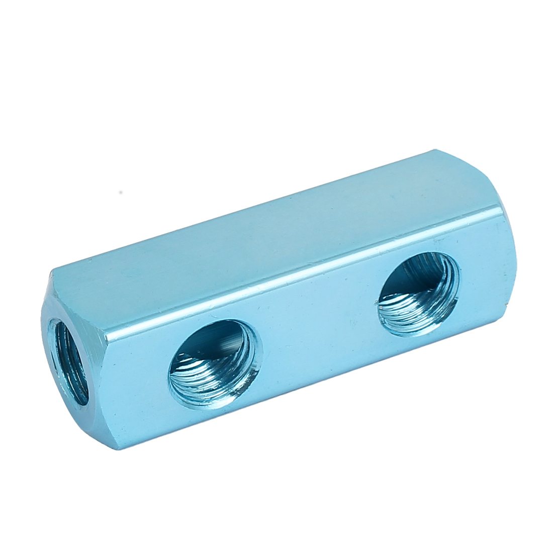 1/4BSP Thread 2 Ways Quick Connect Air Hose Inline Manifold Splitter Block Blue