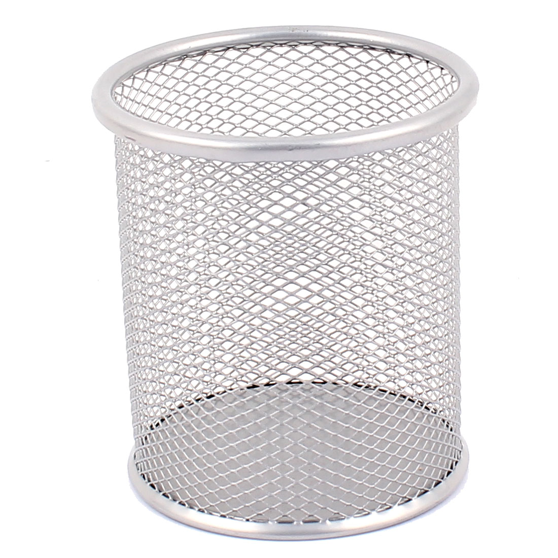 Office School Metal Cylinder Shape Mesh Pen Pencil Holder Container Storage Organizer Gray