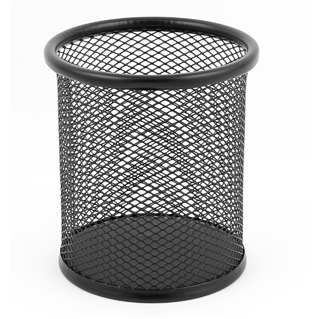 Office Metal Cylinder Shape Mesh Pen Pencil Ruler Holder Container Storage Organizer Black